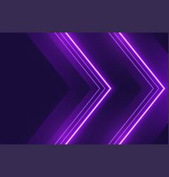 Neon purple lights background in arrow style vector
