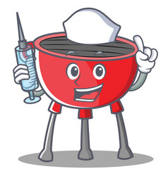 Nurse barbecue grill cartoon character vector