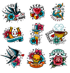 Old school tattoo emblems set vector