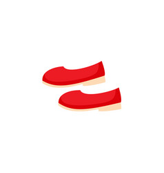 Pair of simple red ballerina shoes pumps flats vector