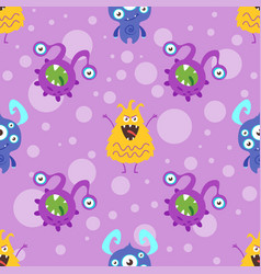 pattern with colorful funny bacteria vector image