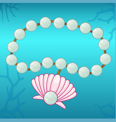 Pearl bracelet with pink seashell vector