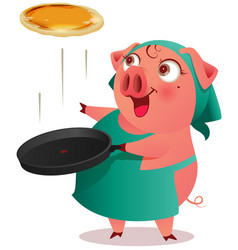 pig female in apron cooks pancakes in pan vector image