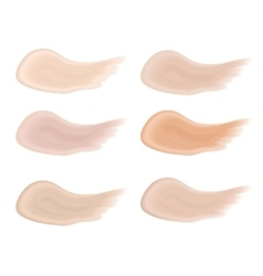 Realistic bb cream strokes set Multicolored vector image