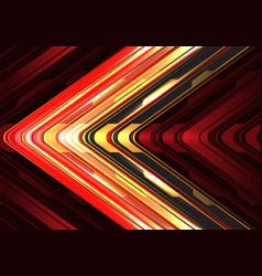 red yellow black arrow light cyber metallic vector image