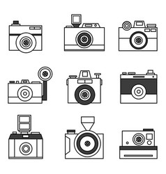 retro photo camera set in vector image