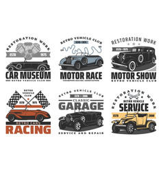 retro vehicle service motor race show vector image