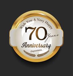 retro vintage style anniversary golden design 70 vector image