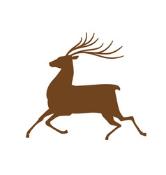 Running deer icon or symbol reindeer animal vector