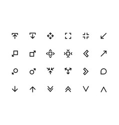 Scale arrows line icons reduce and increase vector