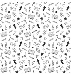 School hand drawn doodle seamless pattern vector