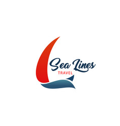 sea lines travel agency icon vector image
