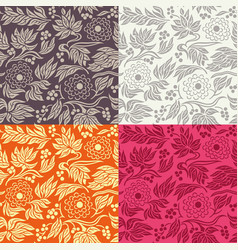 seamless floral pattern in 4 color variations vector image