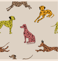 seamless pattern with dalmatian dog vector image