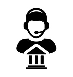 service icon bank call center male person profile vector image