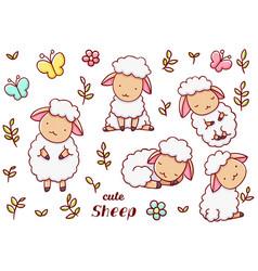 Set cute kawaii hand drawn sheep doodles isolated vector