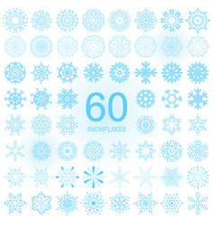 set of blue snowflake icon isolated vector image