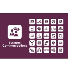 Set of business communications simple icons vector image