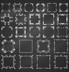 Set of chalk vintage frames vector