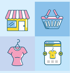 set shopping online to marketing ecommerce vector image