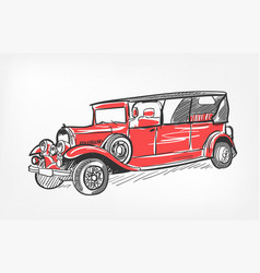 sketch retro car red isolated vector image