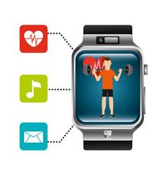 Smart watch man lifting weight heart beat music vector