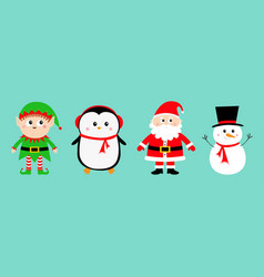 snowman santa claus elf penguin set happy new vector image