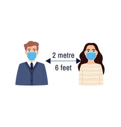 Social distancing icon flat girl man in face mask vector