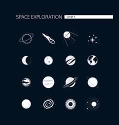 space exploration - modern set white vector image