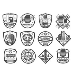 Spare parts car repair service monochrome icons vector