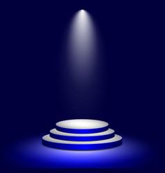Stage podium with illuminated lighting round vector
