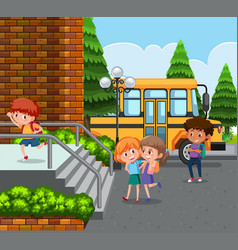 student come to school by school bus vector image