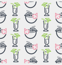 summer seamless pattern with cocktail vector image