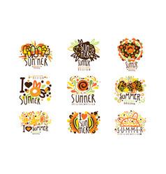 summer set for label design summer travel sea vector image