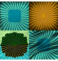 Sunburst Retro Textured Grunge Background Set vector