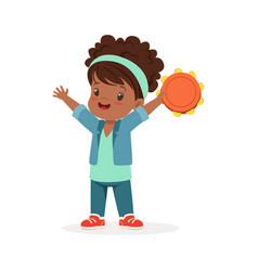 sweet little girl playing tambourine young vector image