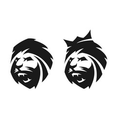 The head of a lion two options vector