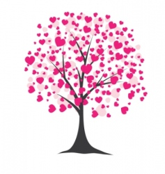 Tree with hearts vector illustration vector