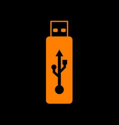 usb flash drive sign orange icon on black vector image