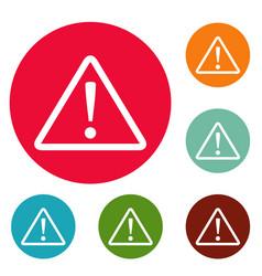 warning sign icons circle set vector image