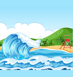 Wave beach landscape scene vector