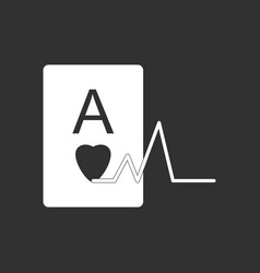 White icon on black background ace of hearts vector