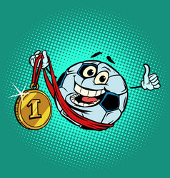 Winner first place gold medal character soccer vector