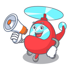 With megaphone helicopter character cartoon style vector