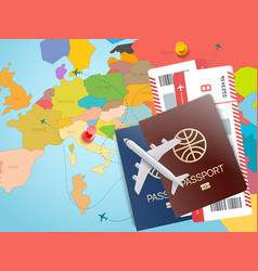 World travel concept with map ans tickets vector