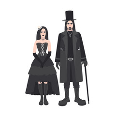 Young goth man and woman with long hair dressed in vector