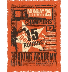 Boxing match vintage poster vector image vector image