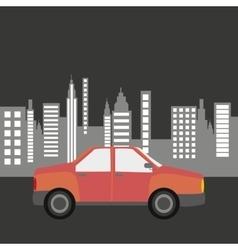 car sedan city background design vector image