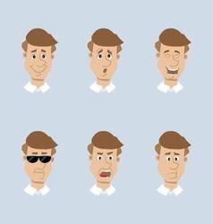 Head mens set of icons vector