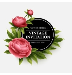 Luxurious peony flower and leaves greeting card vector image